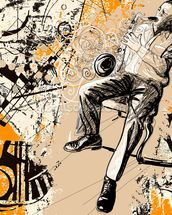 Jazz Saxophonist wallpaper mural thumbnail