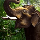 Indian Elephant Jungle wall mural thumbnail