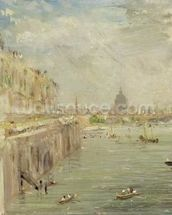 View of Somerset House Terrace and St. Pauls, from the North end of Waterloo Bridge (oil on panel) mural wallpaper thumbnail