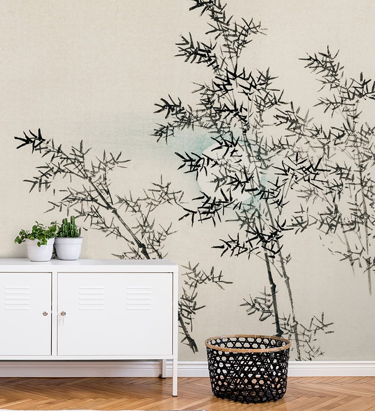 hand painted black bamboo on off white background wallpaper in minimalist hallway