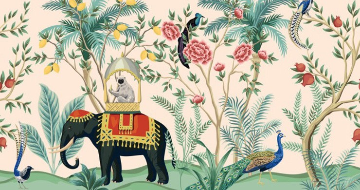 indian elephant in tropical jungle chinoiserie wallpaper