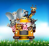 Cartoon Animal Bus mural wallpaper thumbnail