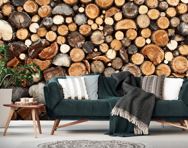 Log pile mural in living room