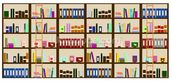 Modern Bookcase Illustration wall mural thumbnail