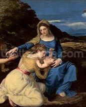 The Virgin and Child with Saints, 1532 (oil on canvas) wallpaper mural thumbnail