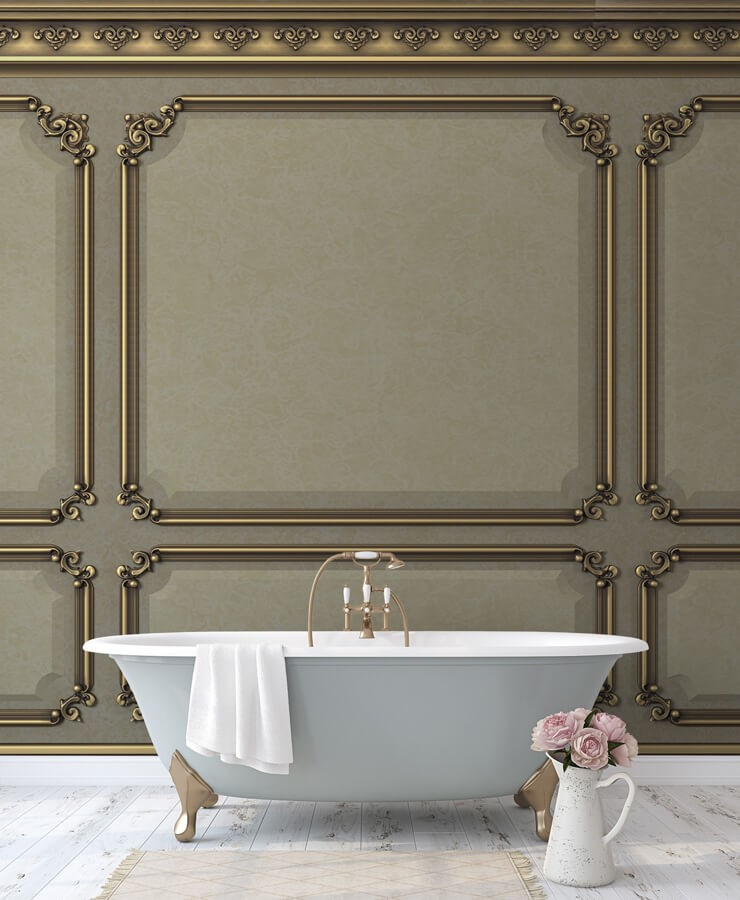 regal wood panels with gold colours wallpaper in luxurious bathroom with grey bath with gold legs