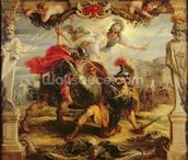 Achilles Defeating Hector, 1630-32 (oil on panel) wall mural thumbnail