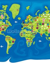 Cartoon World Map mural wallpaper thumbnail