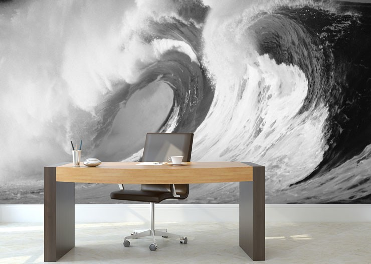 black and white wave in private office