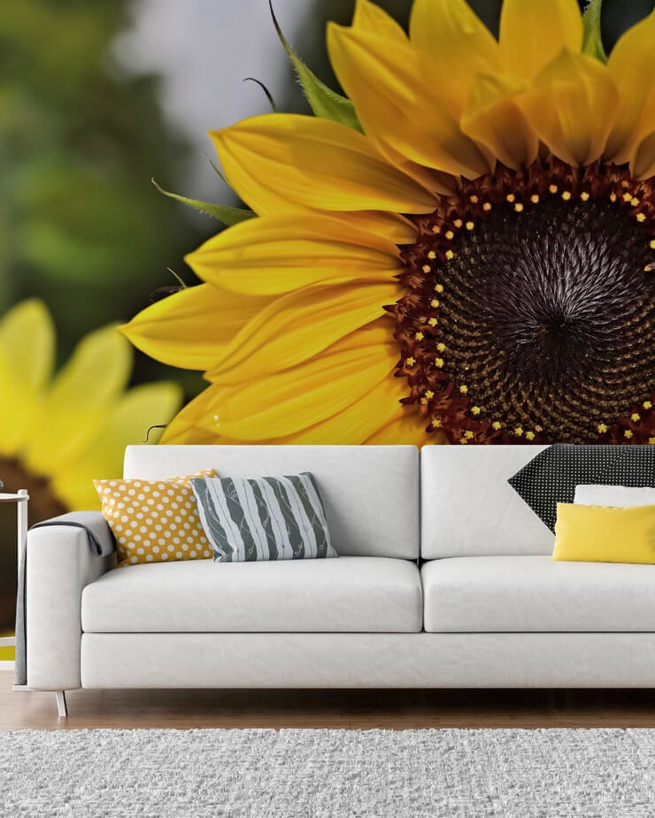 sunflower-wallpaper-in-living-room