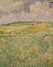 The Plain at Auvers, 1890 (oil on canvas) wall mural thumbnail
