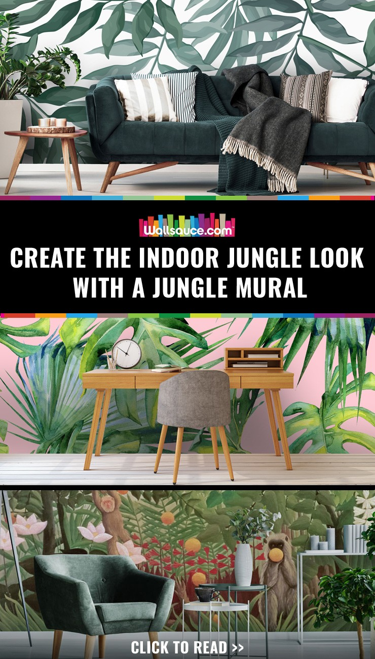 Create the indoor jungle look with a jungle mural
