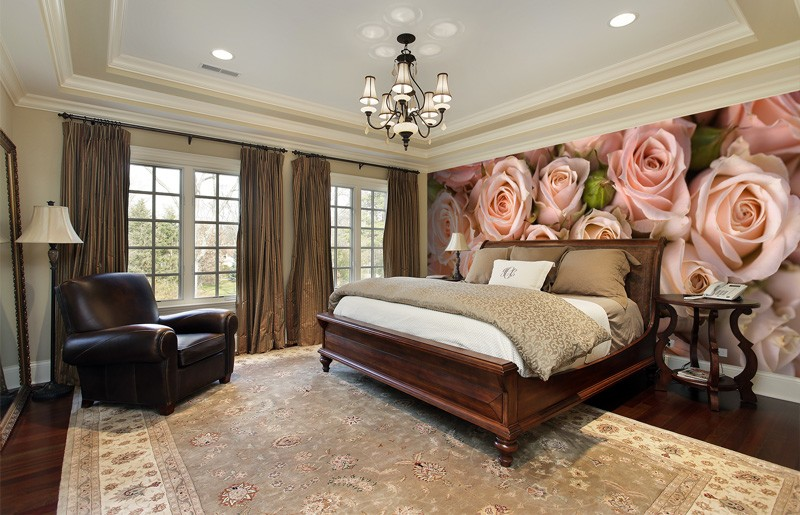 Pink-rose-wall-mural-in-bedroom