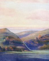 Mountains And Ocean At Sunset - C.1935, Hope Hayselden wallpaper mural thumbnail