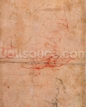 Preparatory Study for the Punishment of Haman (red chalk & charcoal on paper) (verso) mural wallpaper thumbnail