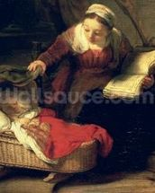 The Holy Family, c.1645 (oil on canvas) (detail of 38052) mural wallpaper thumbnail