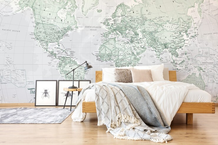 pale green world map wallpaper in white minimalist bedroom