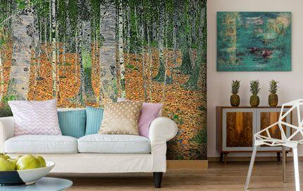 Birch tree wallpaper wall murals wallsauce for Beautiful birch tree wall mural