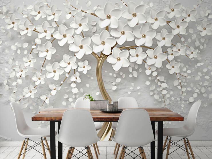 textured decor effect gold and white tree wall mural in dining room