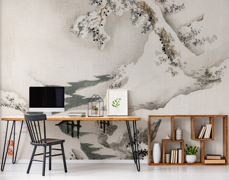 black, grey and off-white painted snow landscape wall mural in trendy modern office
