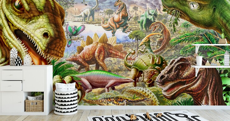 digital illustration of dinosaurs wallpaper in child's on-trend bedroom