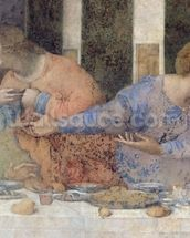 The Last Supper, 1495-97 (fresco) (post restoration) (detail of 227198) wall mural thumbnail