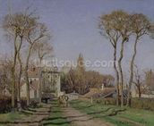 Entrance to the Village of Voisins, Yvelines, 1872 (oil on canvas) wall mural thumbnail