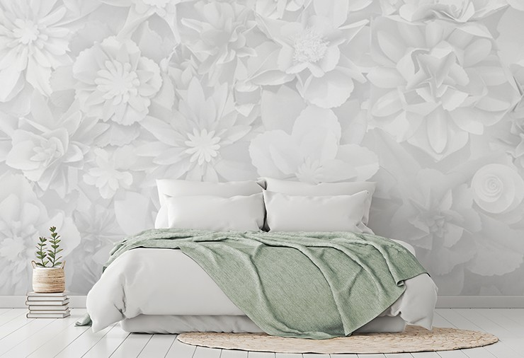 subtle 3D white flowers wallpaper in relaxing white and sage master bedroom