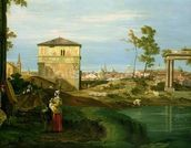 Detail of Capriccio with Motifs from Padua, c.1756 (oil on canvas) mural wallpaper thumbnail