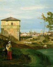 Detail of Capriccio with Motifs from Padua, c.1756 (oil on canvas) (see 141302) mural wallpaper thumbnail