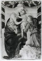 The Virgin and Child with an angel (panel) (b/w photo) mural wallpaper thumbnail