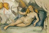 Female Nude on a Sofa (oil on canvas) mural wallpaper thumbnail