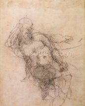 Study for Noah in The Drunkenness of Noah, 1508-12 (charcoal on paper) (recto) wallpaper mural thumbnail