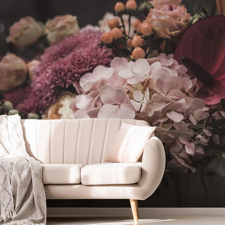 dusty pink flowers wallpaper in trendy living room