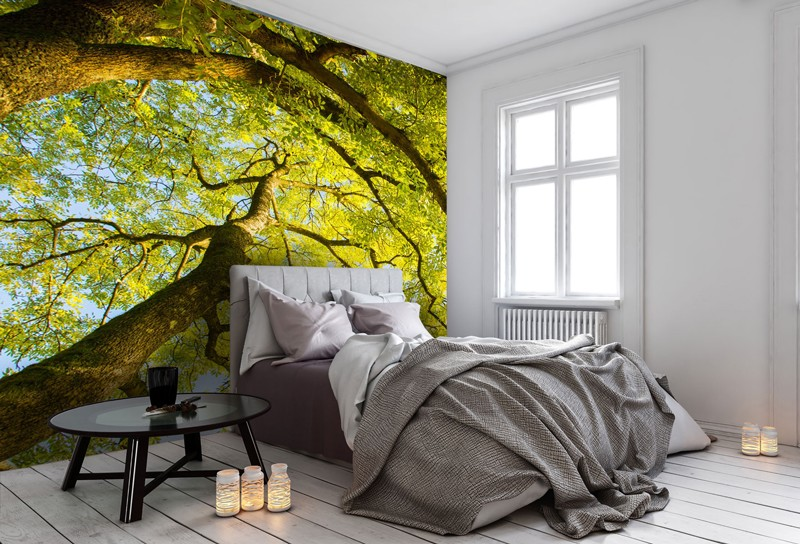 Tree mural in bedroom