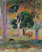Dominican Landscape or, Landscape with a Pig and Horse, 1903 (oil on canvas) wallpaper mural thumbnail