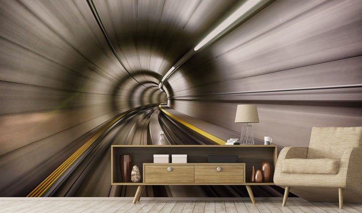 speed blur effect underground tunnel wallpaper in modern lounge