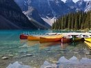 Moraine Lake Canoes wall mural thumbnail