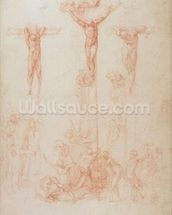 Study of Three Crosses (red chalk on paper) wallpaper mural thumbnail