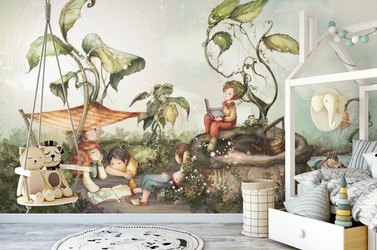 storybook_wallpaper_in_kids_bedroom
