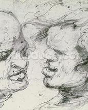 Two Heads (pen and ink on paper) wallpaper mural thumbnail