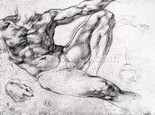 Study for the Creation of Adam (pencil on paper) (b/w photo) wall mural thumbnail