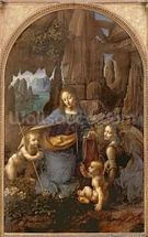 The Virgin of the Rocks (with the Infant St. John adoring the Infant Christ accompanied by an Angel), c.1508 (oil on panel) wall mural thumbnail