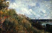 The Seine, view of the slopes of By, 1881 (oil on canvas) mural wallpaper thumbnail