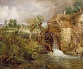 Mill at Gillingham, Dorset, 1825-26 (oil on canvas) mural wallpaper thumbnail