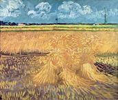 Wheatfield with Sheaves, 1888 (oil on canvas) mural wallpaper thumbnail