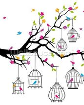 Tree with Birdcages wallpaper mural thumbnail