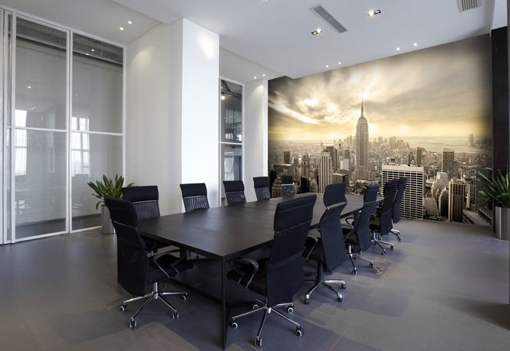 manhattan cityscape wallpaper in large modern meeting room