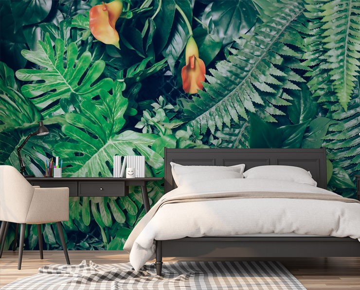 jungle photo wallpaper behind bed