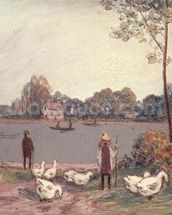 On the Banks of the Loing (pastel on paper) wall mural thumbnail